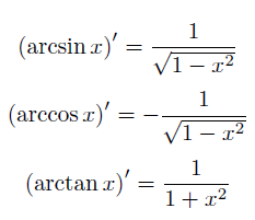 derivative trig functions