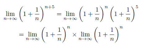 The two factors up there equal the definition of number e, so: