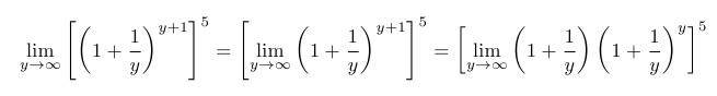 Now, the first factor becomes one, and the second factor is the definition of e! So: