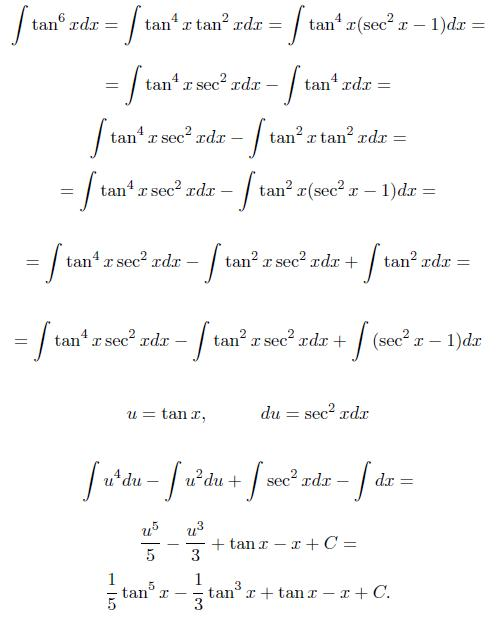 integral of tangent to the sixth power  tan 6 x